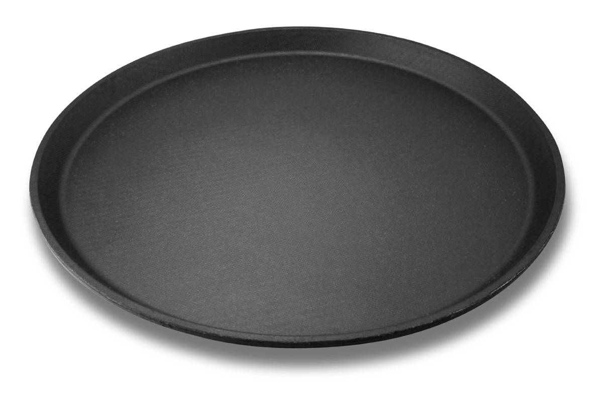 Serviertablett rund, schwarz / 1,50 € p.St.